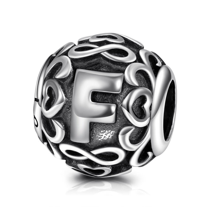 Letter F Charm in  925 Sterling Silver