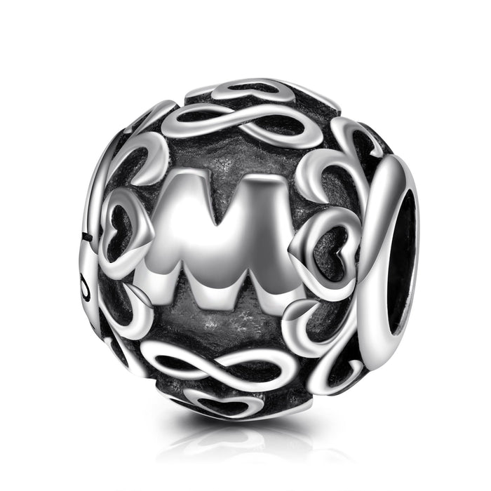 Letter M  925 Sterling Silver Charm