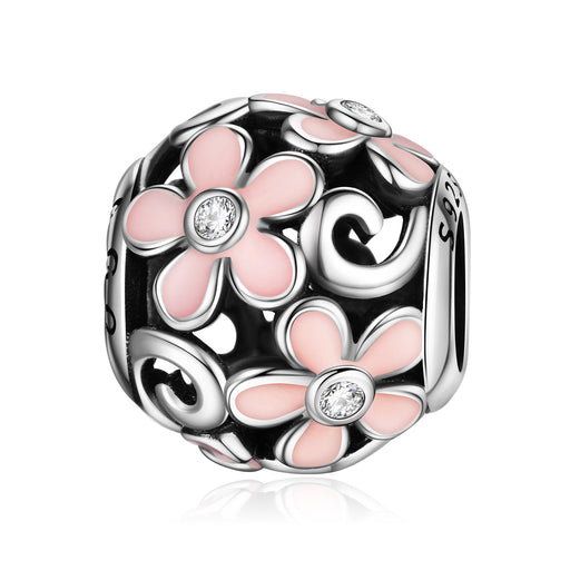 Sterling Silver Pink Flowers Charm Fit for Bracelet and Necklace