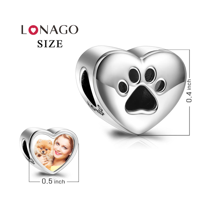 925 Sterling Silver Personalized Your Love Heart Color Photo Charm With Puppy Paw Print