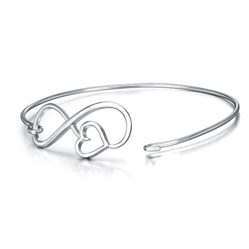 Sterling Silver Infinity Love Heart Combined Elegant Bangle Bracelet