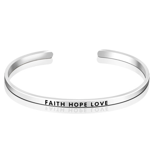 925 Sterling Silver Faith Hope Love Elegant Cuff Bracelets