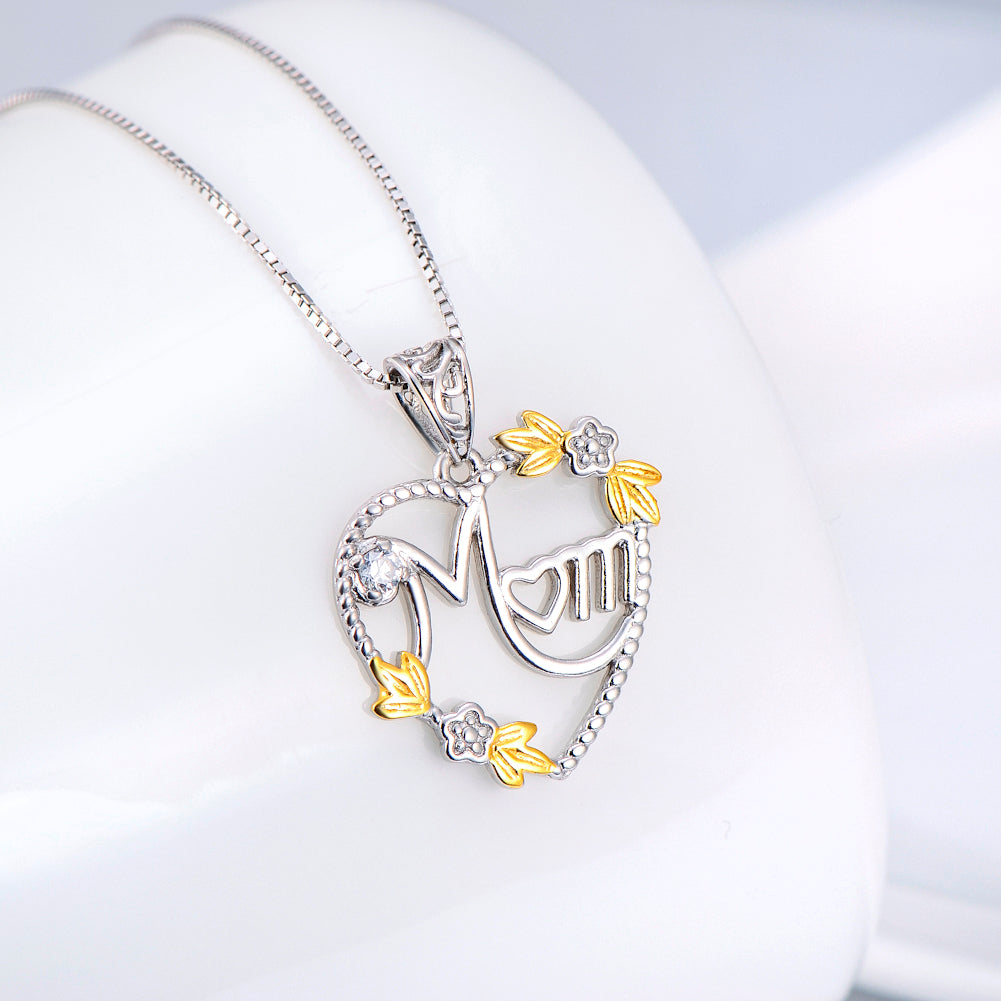 Flower Heart Necklace For Mom