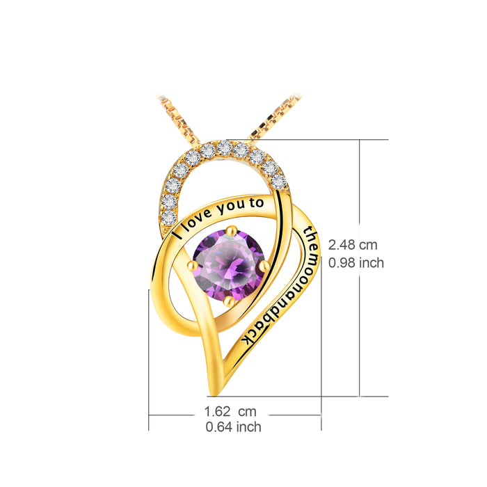 YAFEINI I Love You to The Moon and Back Love Heart Pendant Necklace Best Mother's Day Gift