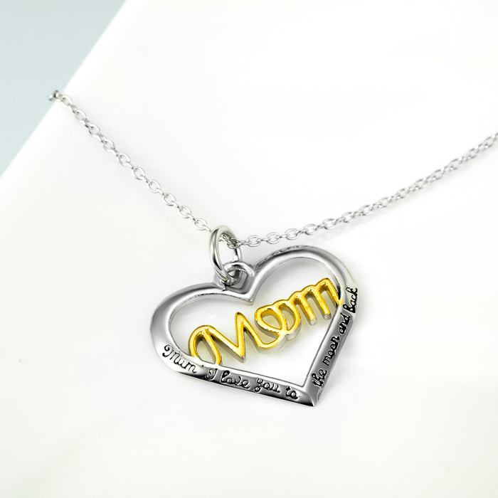 I Love You Mom 925 Sterling Silver Heart Pendant Necklace