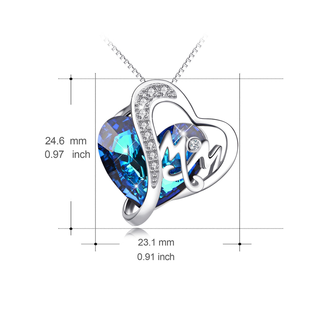 925 Sterling Silver Mom Necklace with Blue Heart Swarovski Crystals