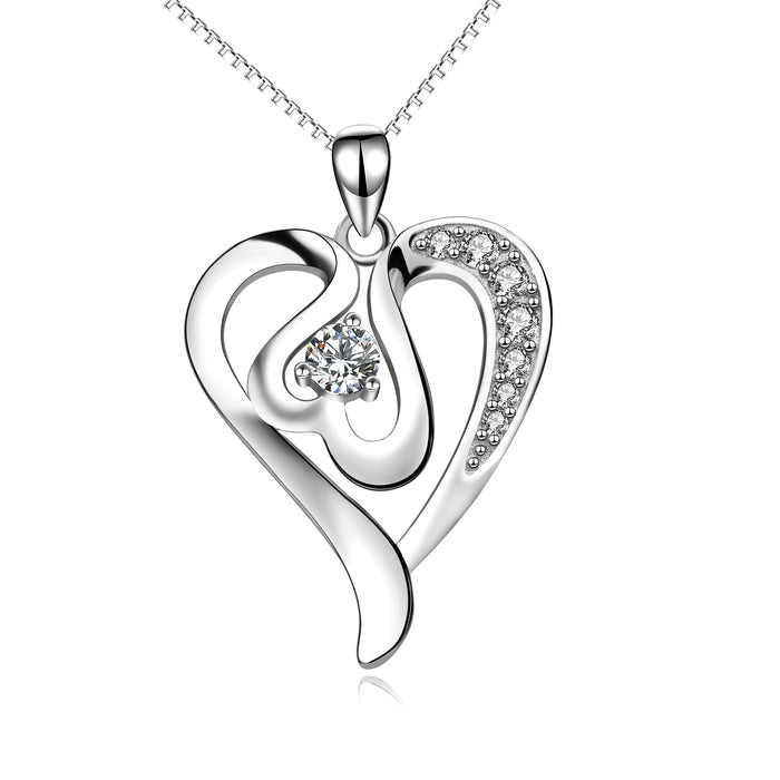925 Sterling Silver Love Heart Jewelry Necklace For Women