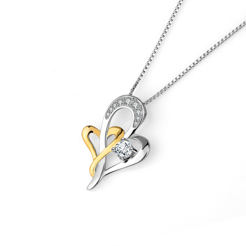 Stay Together Forever -925 Sterling Silver Love Heart Jewelry Necklace