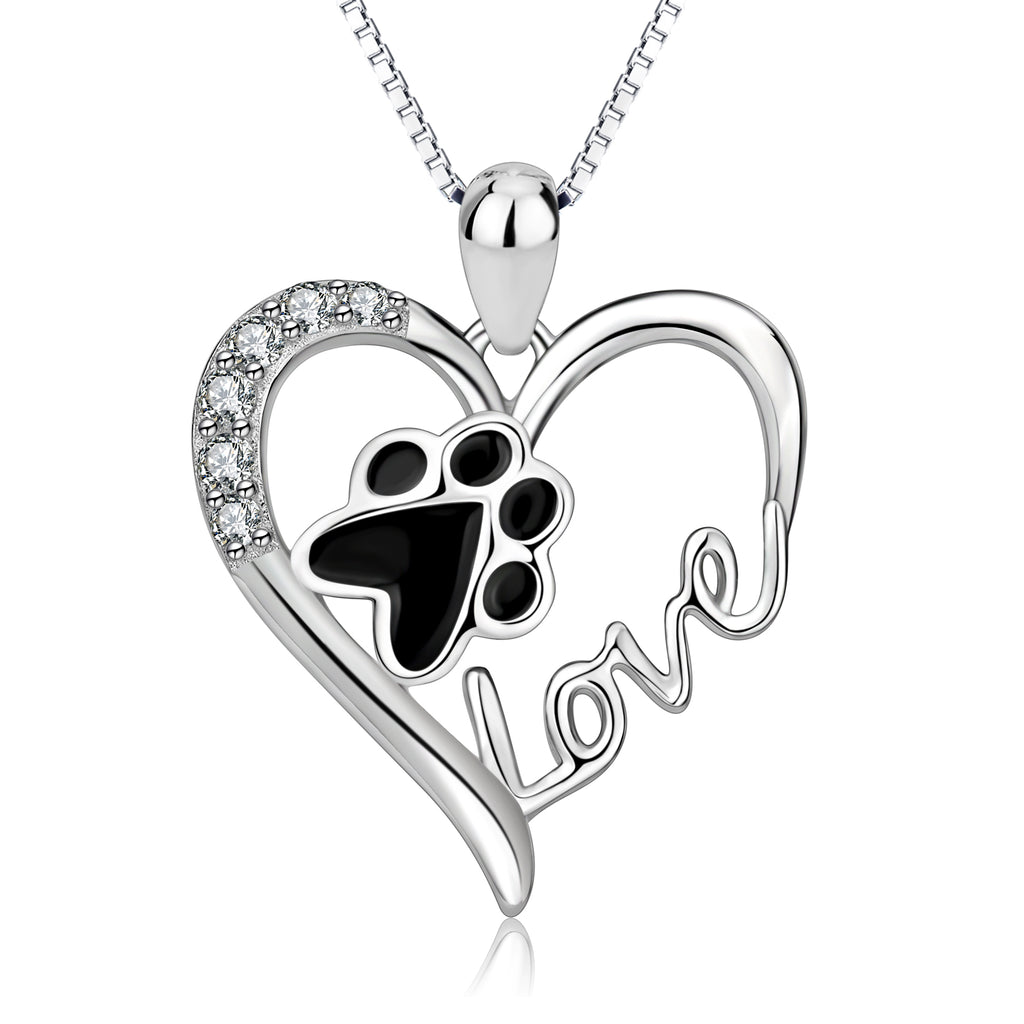 925 Sterling Silver Love Heart Foot Jewelry Necklace
