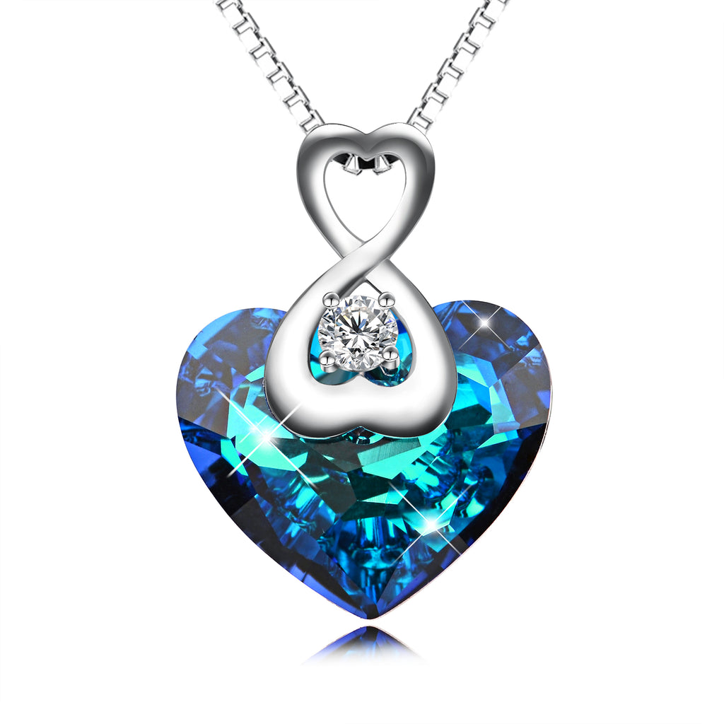 925 Sterling Silver Love Heart Pendant for Women Daughter Girlfriend Crystal Crystals
