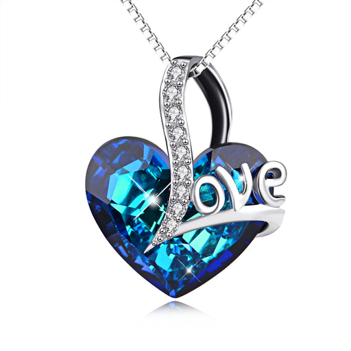 Love Theme-925 Sterling Silver Blue Heart Swarovski Crystals