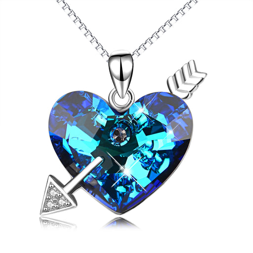 925 Sterling Silver Heart Love Cupid Arrow Blue Heart Swarovski Crystals Charm Pendant with Chain
