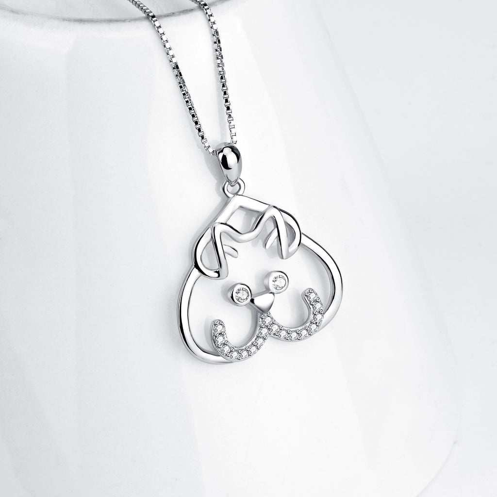 925 Sterling Silver Lovely Bear Smile Pendant With Chain Necklace
