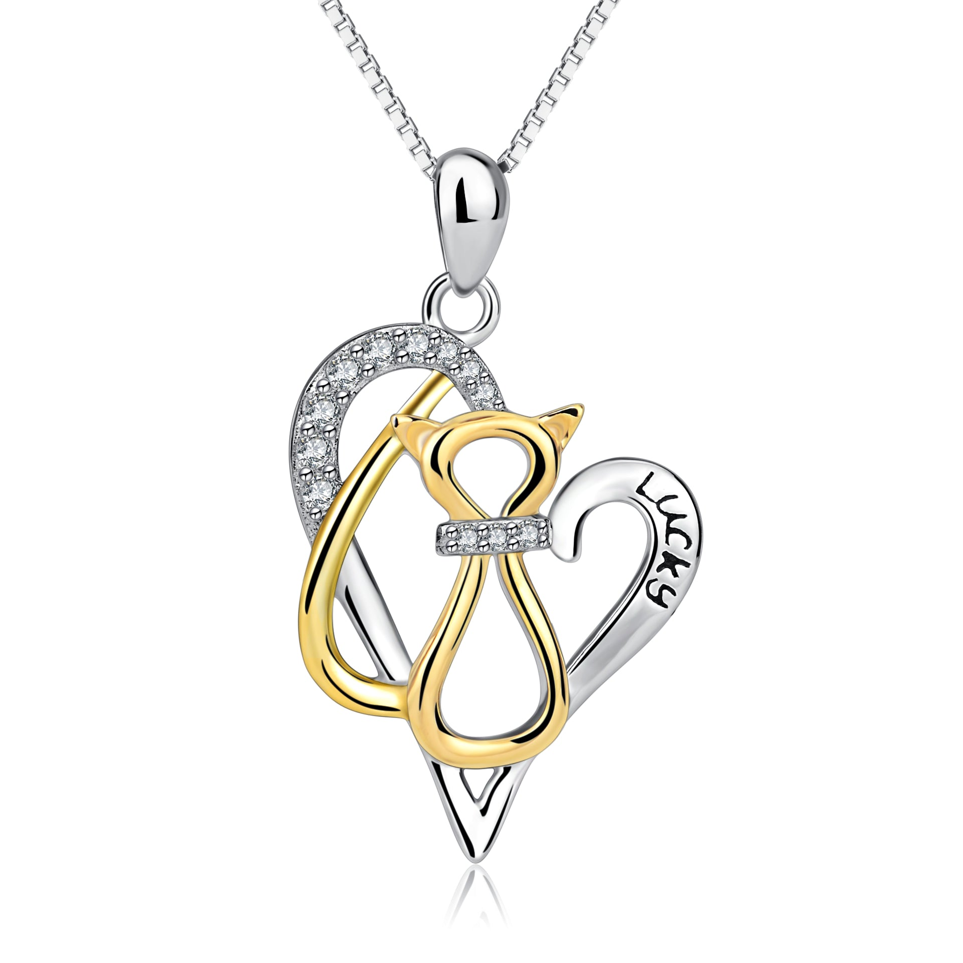 925 Sterling Silver Love Heart Yellow Gold Cat Lucky Jewel Necklace