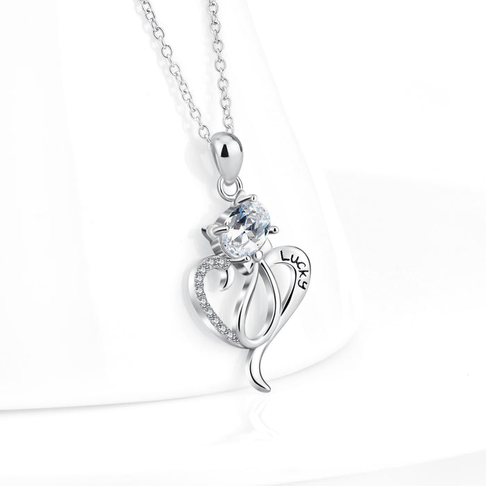 925 Sterling Silver Cat Charm Pendant with Chain Lucky Necklace