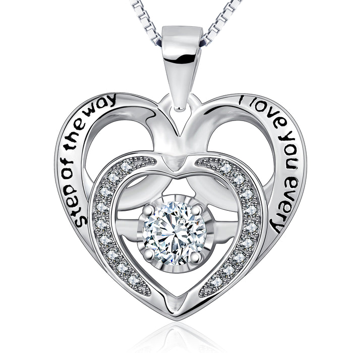925 Sterling Silver Double Heart Charm Jewelry Necklace  for Girlfriend Women