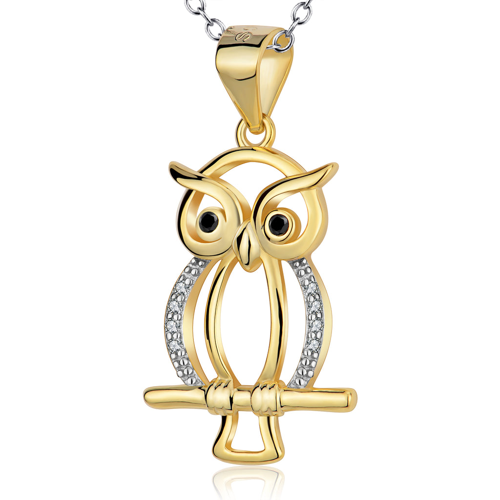 925 Sterling Silver Yellow Gold Night Owl On A Branch Rolo Chain Necklace