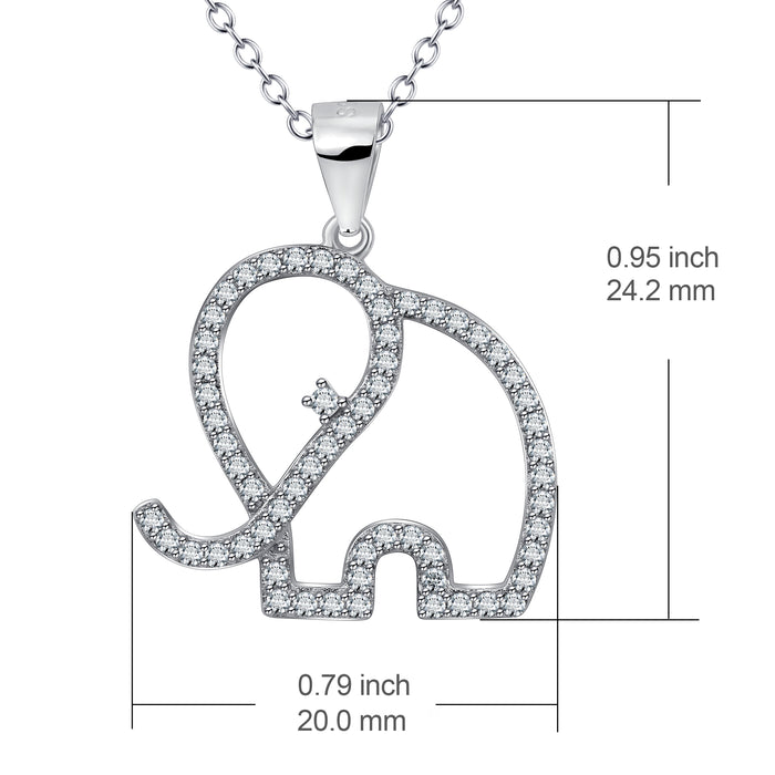 925 Sterling Silver Elephant Charm Pendant with Chain Good Luck Jewelry Necklace