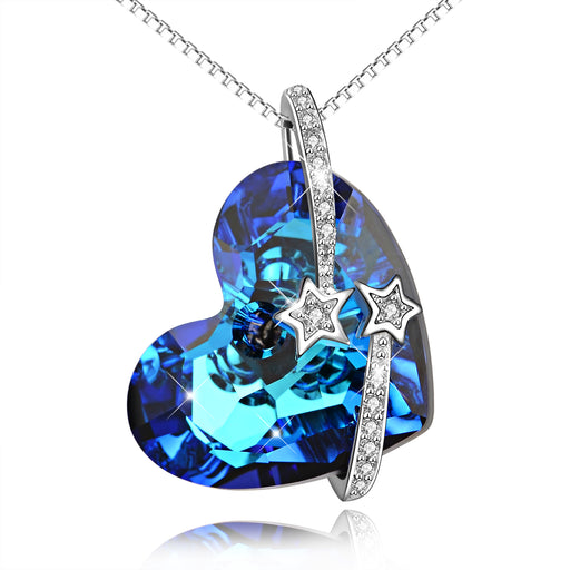925 Sterling Silver Love Heart Blue Heart Swarovski Crystals Shinning Star Necklace