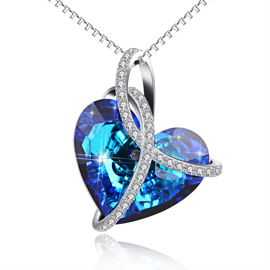 925 Sterling Silver Love Heart Blue Heart Swarovski Crystals Knot Necklace Gift for Women