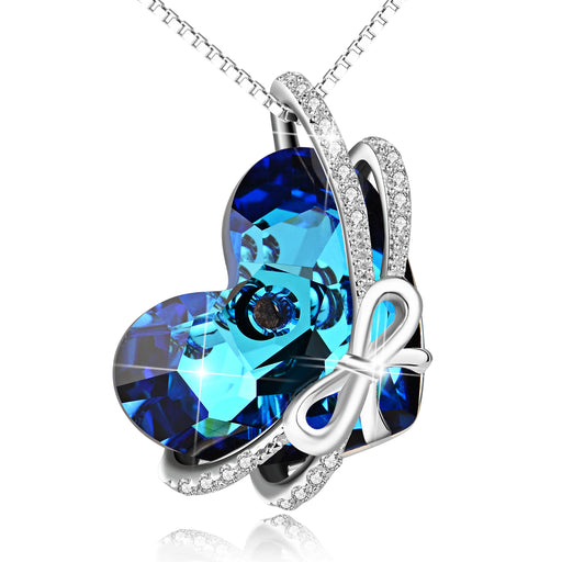 925 Sterling Silver Love Heart Blue Heart Swarovski Crystals Knot Necklace