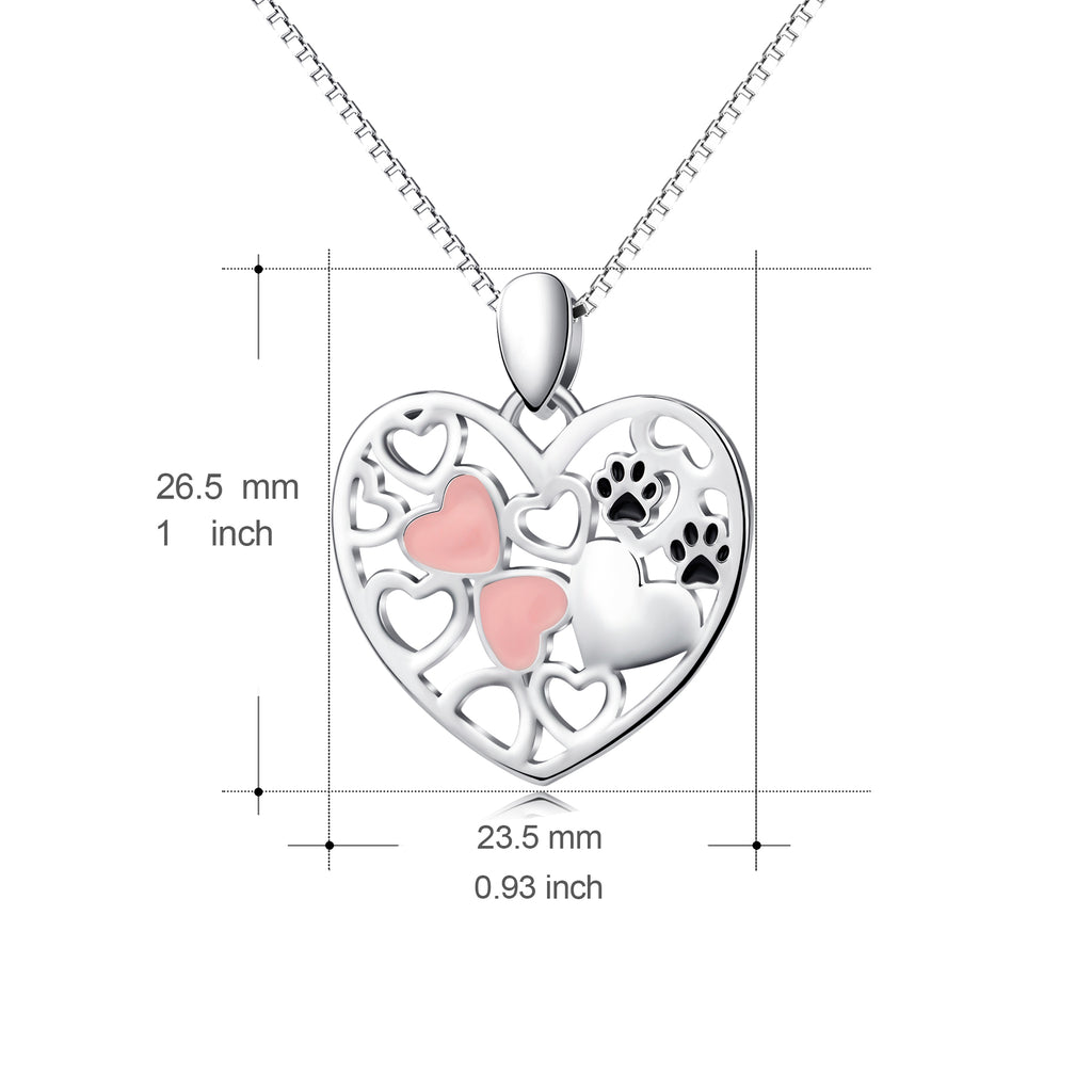 925 Sterling Silver Pink Love Heart Cute Cat  Pet Claw Charm Pendant with Chain Jewelry Necklace