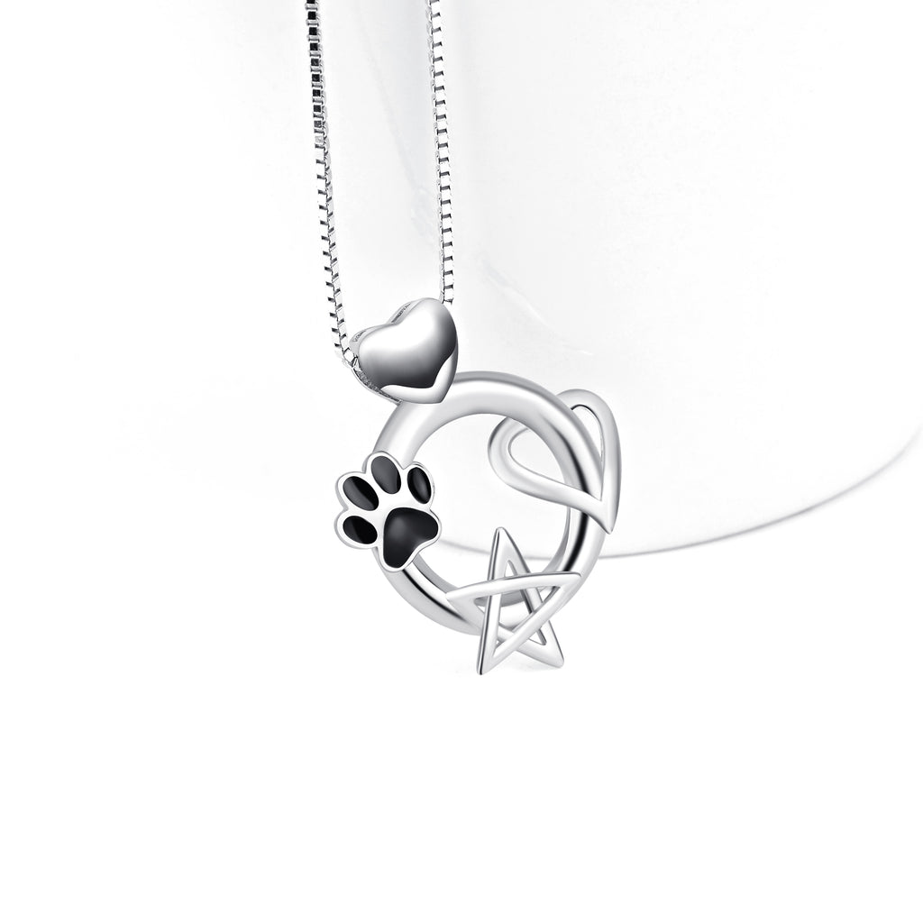925 Sterling Silver Cat Claw Stars Heart Love Good Luck Charm Pendant Jewelry Necklace