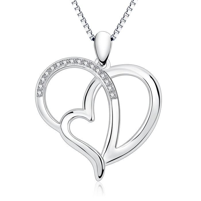 925 Sterling Silver Double Heart Love Heart by Heart Jewelry Necklace for Girlfriend for Women