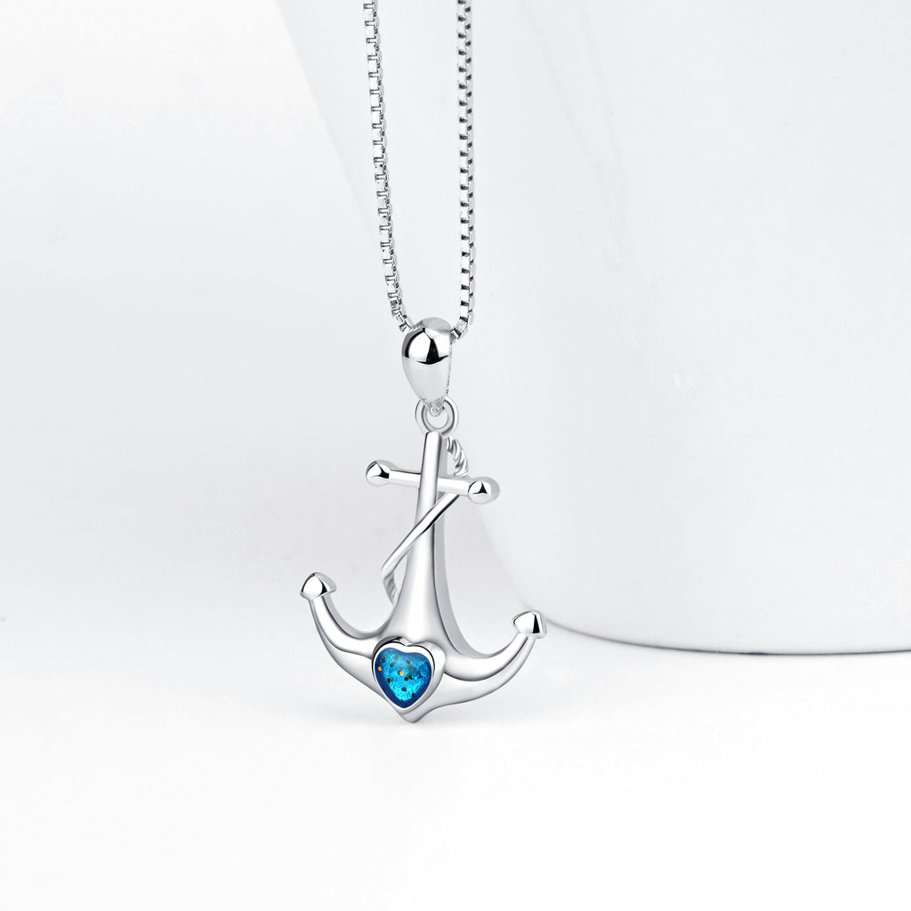 925 Sterling Silver Ship Anchor Sailors Blue Crystals Charm Pendant with Chain Jewelry Necklace
