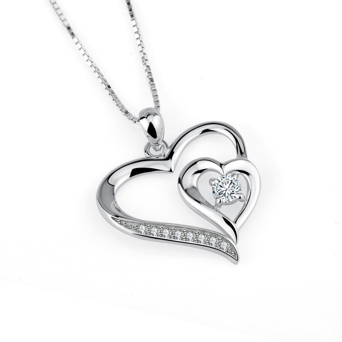 925 Sterling Silver Charm Pendant with Chain Heart By Heart Love Jewelry Shinning Zircon