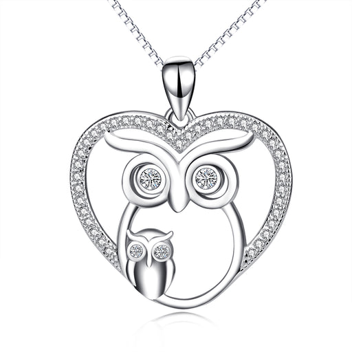 925 Sterling Silver Two Owls Night Owl Cute Lucky Animal Jewelry Necklace Charm Pendant with Chain