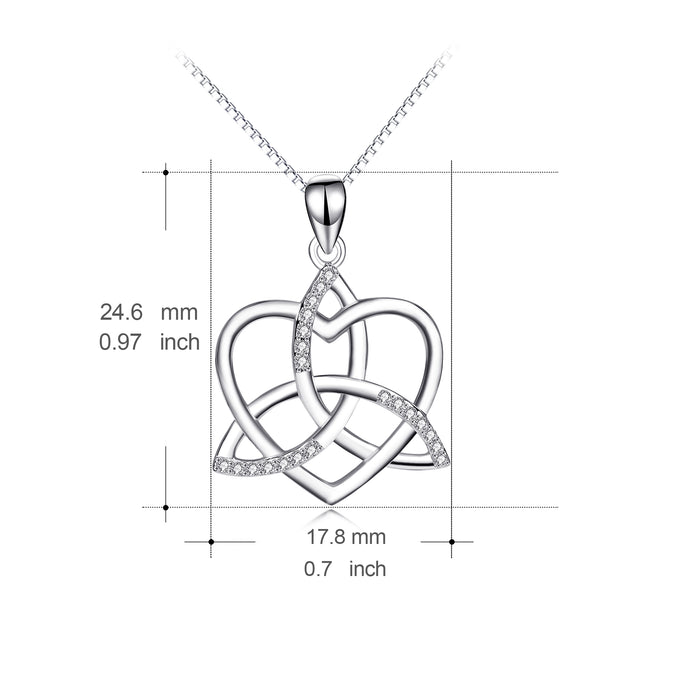925 Sterling Silver Heart Knot for Women Daughter Girlfriend Jewelry Necklace
