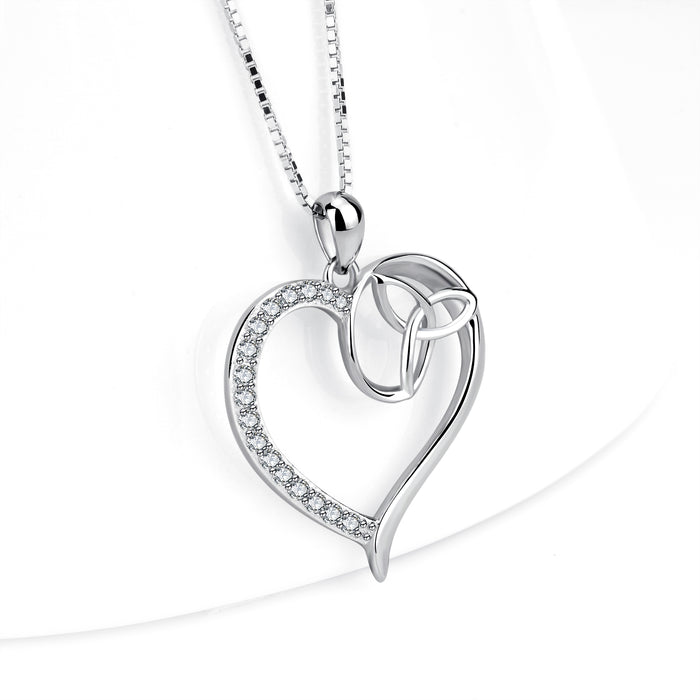 925 Sterling Silver Heart Knot Charm Pendant with Chain Shinning Zircon Jewelry Necklace