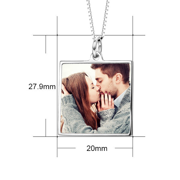"I'm Addicted to You -  14K Gold Personalized Color Photo &Text Necklace Adjustable 16""-20"""
