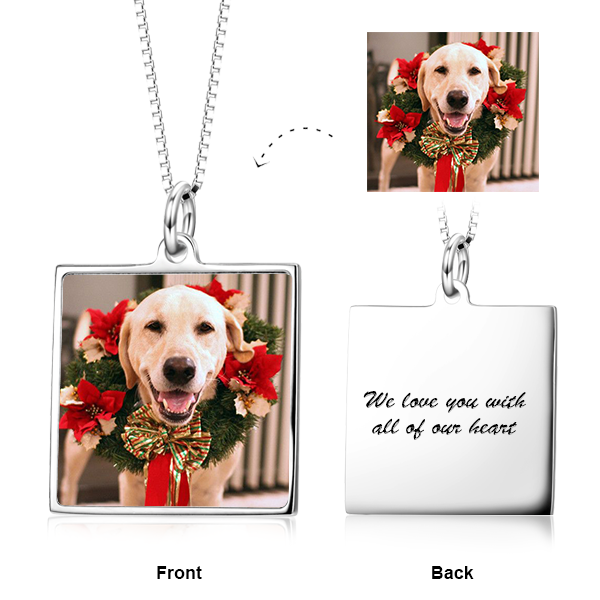 Personalized Color Photo in Square Pendant Necklace in Sterling Silver/14K Gold