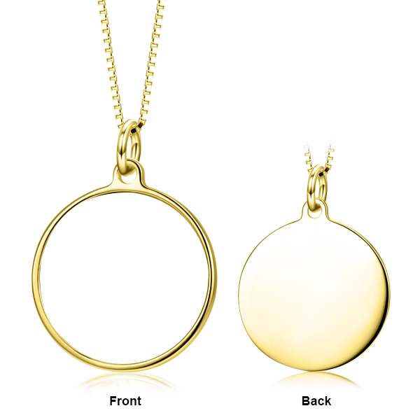 Anniversary Gift- Personalized Color Photo & Text in Round Pendant Necklace in Sterling Silver/ 14K Gold
