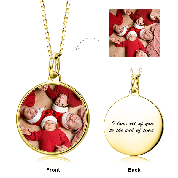 "Personalized 14K Gold Color Photo with Name/Text Necklace Adjustable 16""-20"""