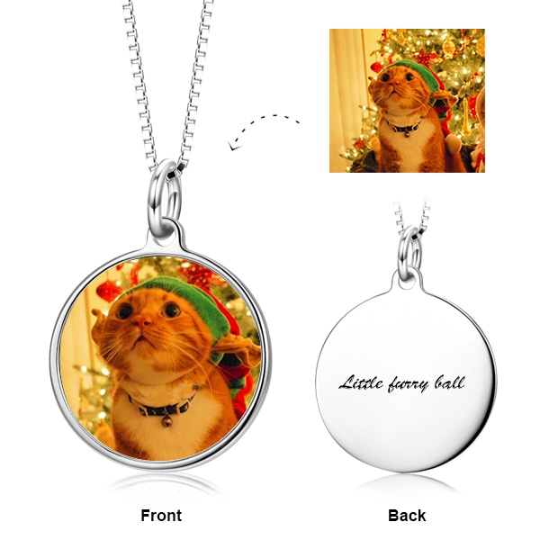 "Personalized Color Photo with Name/Text in Round Pendant Necklace Adjustable 16""-20"" in 14K Gold"