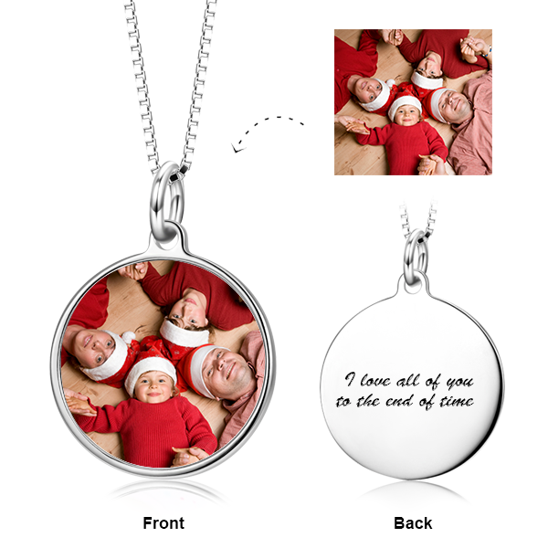 Personalized Color Photo with Name/Text in Round Pendant Necklace in Sterling Silver/14K Gold