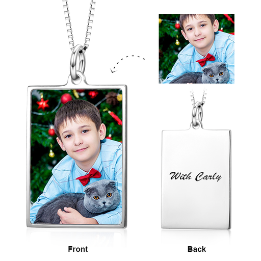 "Personalized Color Photo&Text Dogtags Necklace Adjustable 16""-20"" in Sterling Silver"