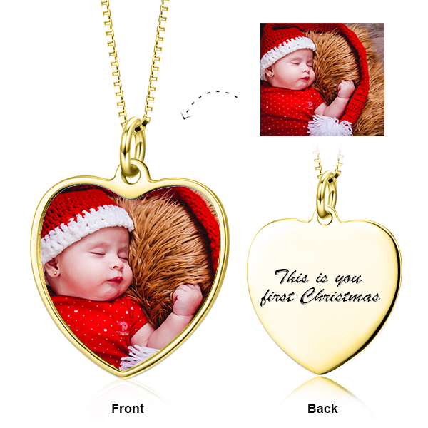 "Adjustable 16""-20"" Personalized Color Photo&Text in Love Heart Pendant Necklace in 14K Gold"