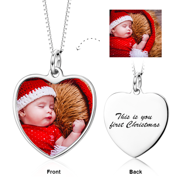 Personalized Color Photo&Text in Love Heart Pendant Necklace in Sterling Silver/14K Gold