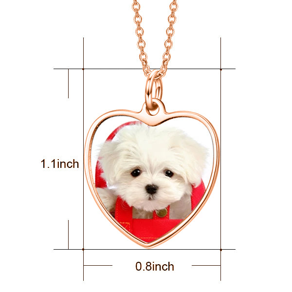 "925 Sterling Silver Personalized Color Photo Picture Heart Necklace Adjustable 16""-20"""
