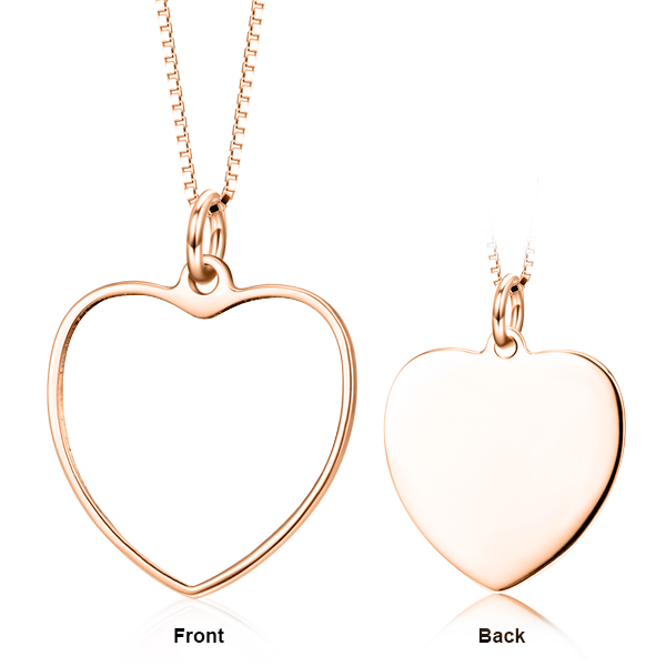 "14K Gold Personalized Color Photo and Engraved in Love Heart Pendant Necklace Adjustable 16""-20"""