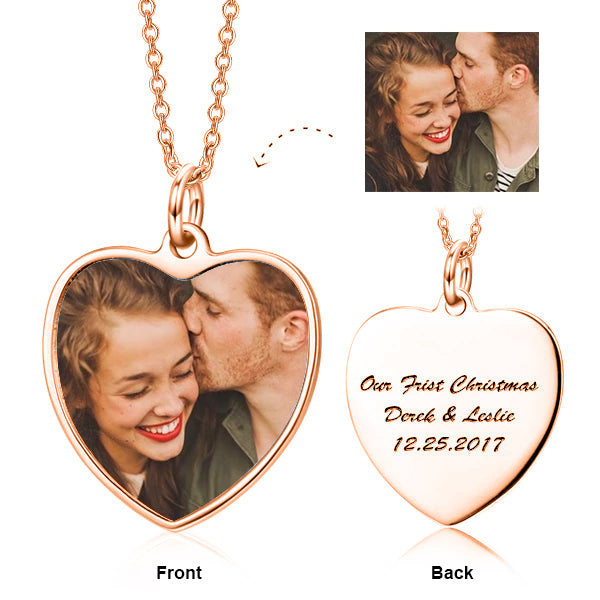 "Copper/925 Sterling Silver Personalized Color Photo and Engraved in Love Heart Pendant Necklace Adjustable 16""-20"""