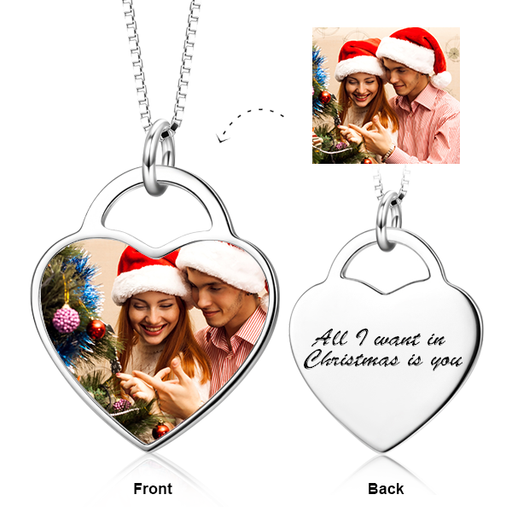 925 Sterling Silver Customize Your Color Photo&Text in Love Heart Pendant Necklace