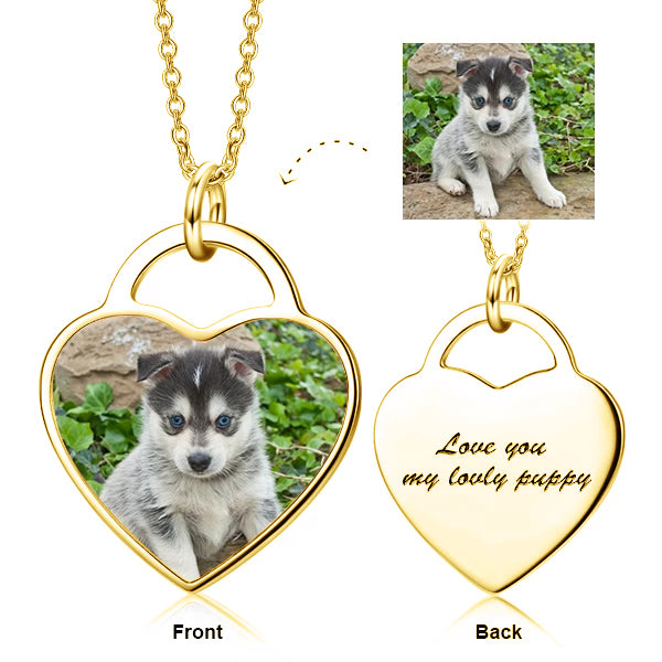 "Copper/925 Sterling Silver Personalized Pets Color Photo&Text Necklace Adjustable 16""-20"""