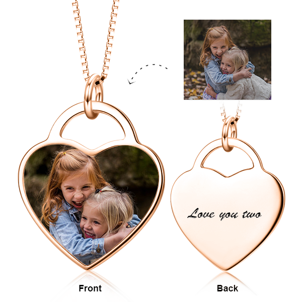 "Personalized Adjustable 16""-20"" Kids Color Photo Necklace -14K Gold"