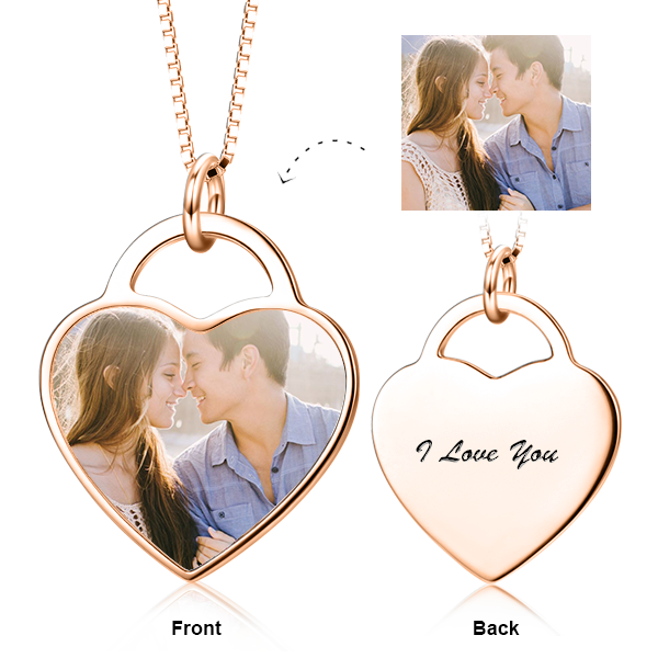 "We're Soul Mates -10K/14K Gold Personalized Color Photo&Text Necklace Adjustable 16""-20"""