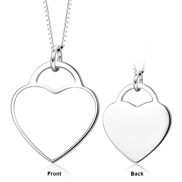 14K Gold Customize Your Color Photo&Text in Love Heart Pendant Necklace
